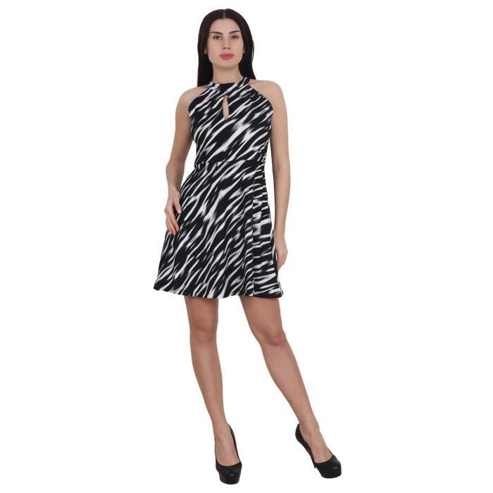 Womens Imported Lycra Halter Neck Sleeveless Party Wear Dress ForI3VMR Taille-36
