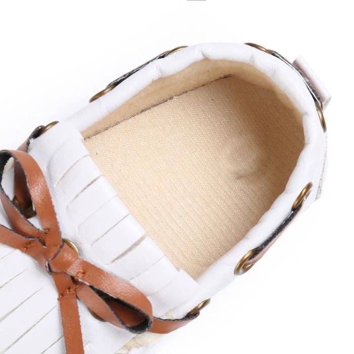 BOTTE Chaussures de bébé garçon fille nouveau-né cuir crèche chaussures à semelle souple@BlancHM
