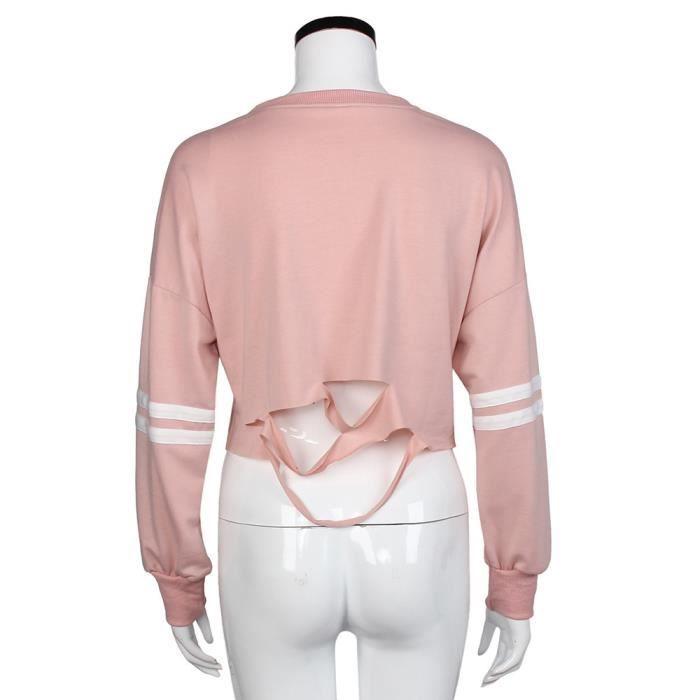 Femme Sweat-shirt Trou Imprimer Sport couche de finition Crop Tops ... 9607712fb61