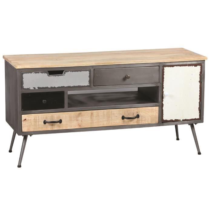 meuble tv en acier et palissandre massif avec 4 tiroirs 1 niche 1 porte dim l125 x p47 x h. Black Bedroom Furniture Sets. Home Design Ideas