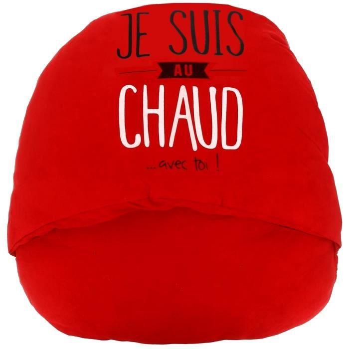 Chausson Géant Inscription Fun Collection Je Suis Au Chaud Avec Toi Rouge 40 x 40 cm