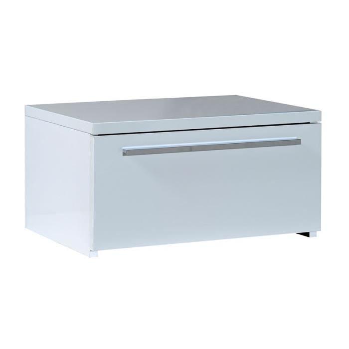 Table de chevet 1 tiroir laqu blanc uno l 50 x l 37 x h 26 cm achat vente chevet table - Table de chevet blanc laque ...