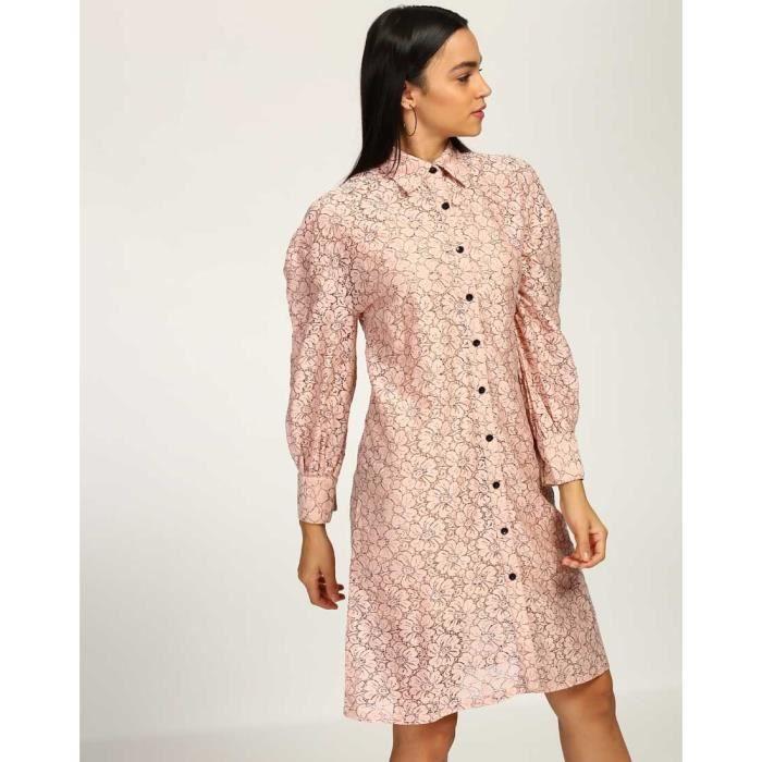 Trendtwo Stefa Rose Femmes dentelle Robe chemise dentelle Midi Shirt Robe SNKQJ