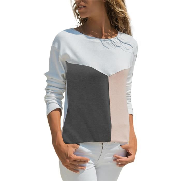 O neck shirt Patchwork Femmes Chemisier Top Manches 1226 T Color Block Casual Longues awFOAqR
