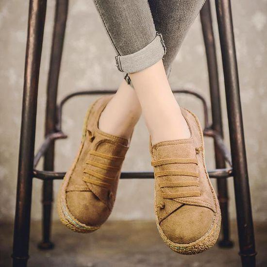 Femme Lacets Bottes Chaussures En Femmes À Bottines Suède Plates SXUxqwyEA