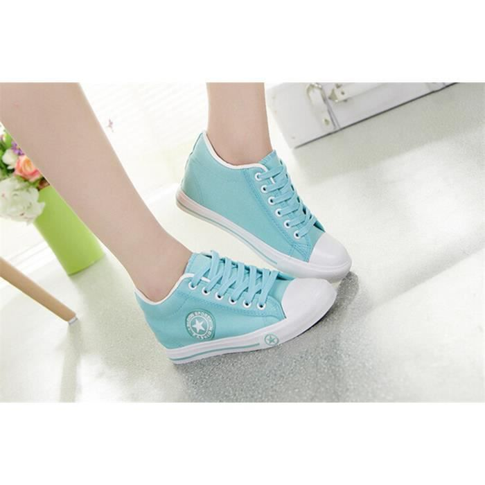 Toile Chaussures Femmes Mode Solide Lacer Vert