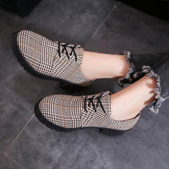Cheville Marron De Rond Bout Mode Féminine Dentelle En Bottes Reservece Bottines Chaussures Up Plat Cuir Casual Aqw1gtZ