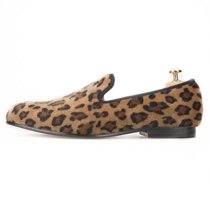 Deux couleurs Leopard Imprime Mocassins Hommes Chaussures Hommes Crin Flats Plus Size hommes chaussures chaussures de bal