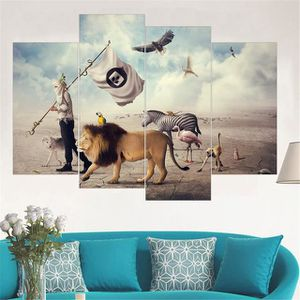TABLEAU - TOILE 4pcs Modern Lion Zebra Animal Wall Art Affiche et