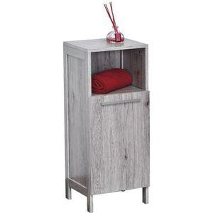 Meuble salle de bain bois gris parisienne - Achat / Vente ...
