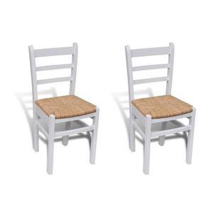 CHAISE 2 pcs Chaise de salle à manger peinture blanche