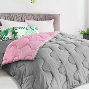 COUETTE Couette bicolore rose et gris 220 x 240 CM 300 gr