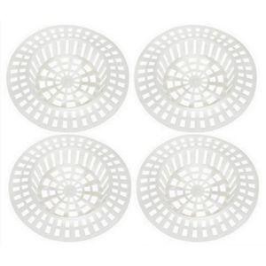 SIPHON DE LAVABO Lot de 4 Filtre a Evier en Plastique Blanc - Lavab