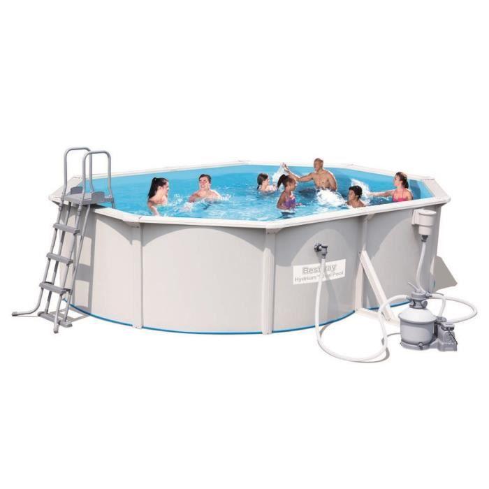 BESTWAY Kit Piscine Steel Wall Pool ovale - 5x3,60x1,20m