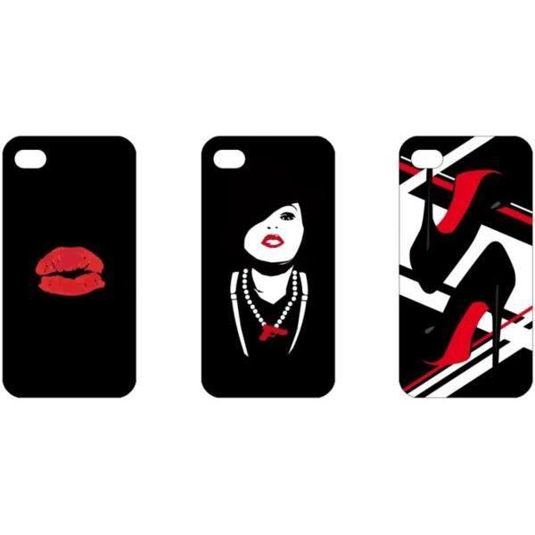 WE Coque de protection pour iPhone 4 et 4 Pack Lady - 1 coque et 3 designs avec contour rouge