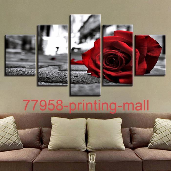 printing mall Sans cadré (Pas de cadre)Tableau decoration salon 5 panneaux  Tombé rouge Rose Fleur Mur de toile Art Photos
