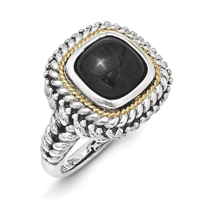 Cabochon 14 carats Argent Sterling avec Onyx - 2 Taille 1/N