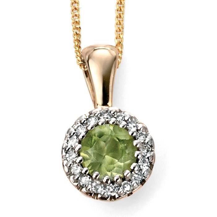 D2002 - Jolie collier péridot et diamant en Or 375/100