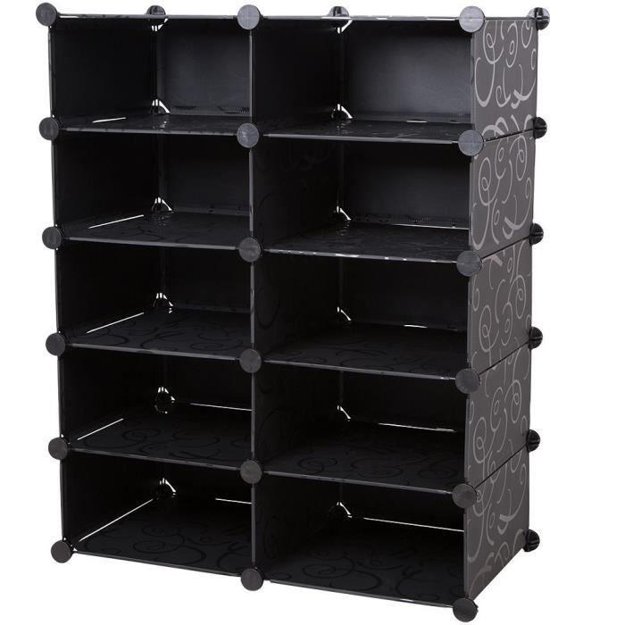 armoire syst me d 39 tag res rangement vetement chaussure avec 10 compartiments achat vente. Black Bedroom Furniture Sets. Home Design Ideas