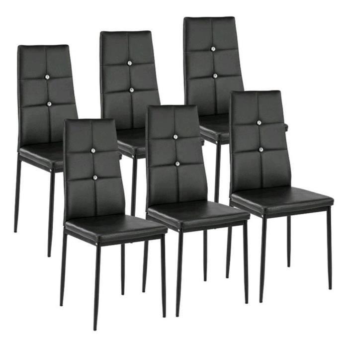 Sam Lot De 6 Chaises De Salle A Manger En Simili Noir Style