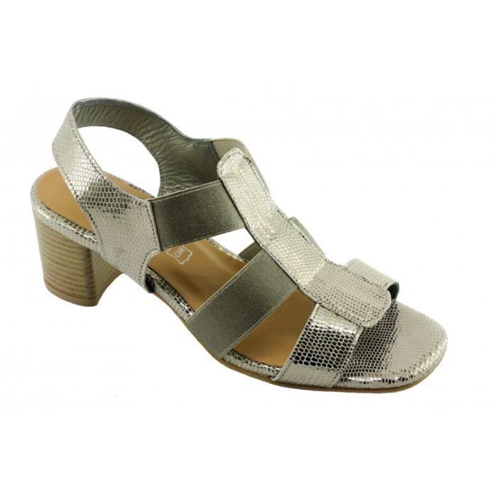SANDALE - NU-PIEDS Janita – sandale élastiquée talon stable chaussure