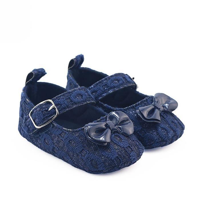 Frankmall®Bébé filles bowknot berceau chaussures semelles anti-dérapantes douces BLEU#WQQ0926393 9yeppb