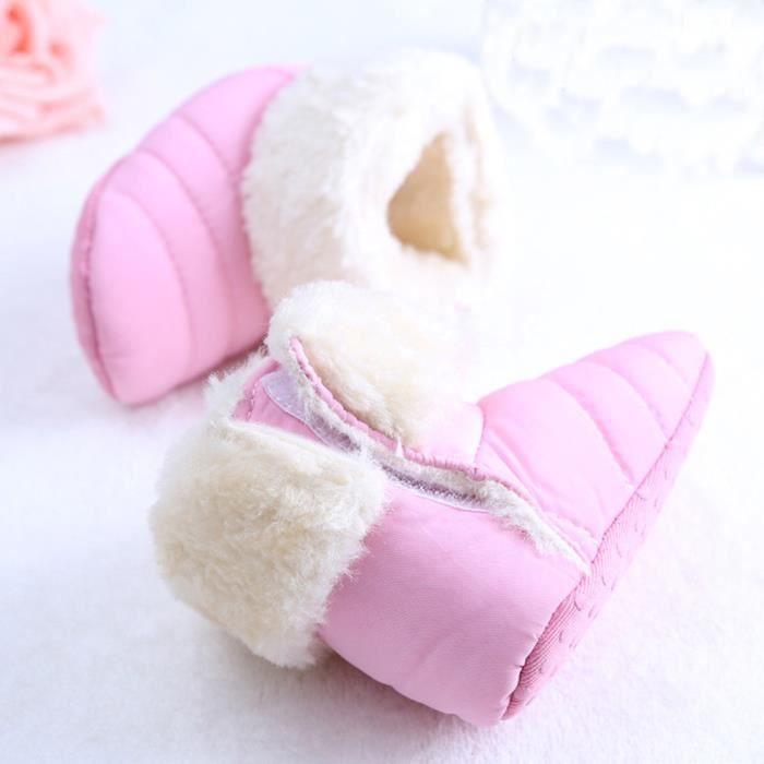 Bébé nouveau-né mignon première marchette pour tout-petits chaussures de bottes Bottes de neige Rose