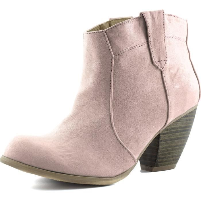 Priority-53 Western Cowboy Ankle Bootie Fashion Round Toe Boots H4WJ9 Taille-37