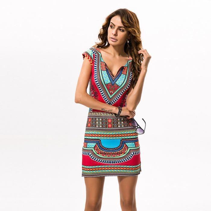 79448dfbf81 Robe Femme Eté Col V En Polyester Imprimé Style Ethnique Skinny Mode  Loisirs Simple Flavor