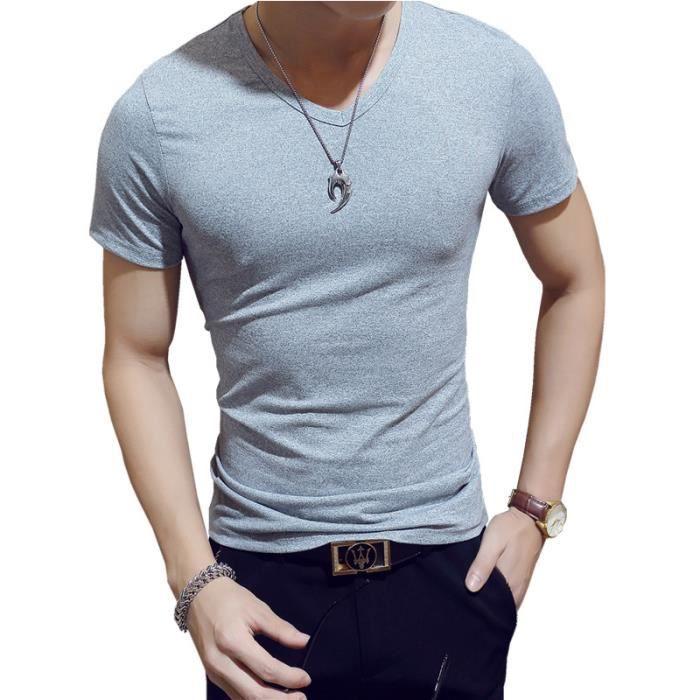 7d3dbc6c292 T shirt Homme col V pas cher de Couleur unie slim Tee shirt Hommes à  manches courtes Vêtement Masculin - Noir