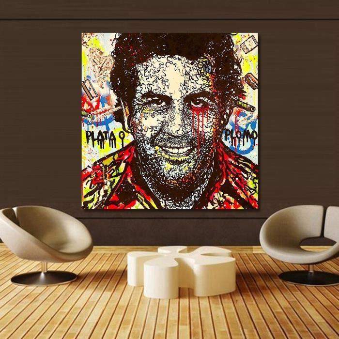 Bien connu Alec Monopoly Graffiti Art Pablo Escobar Portrait Toile Tableau  DK03