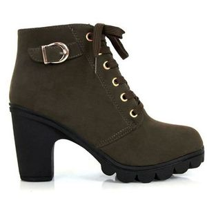 SODIAL(R) Femme plate-forme chaussures a talons hauts simales millesime Motorcycle Boots Martin Bottes Vert Militaire US4 (35) yWPoQ