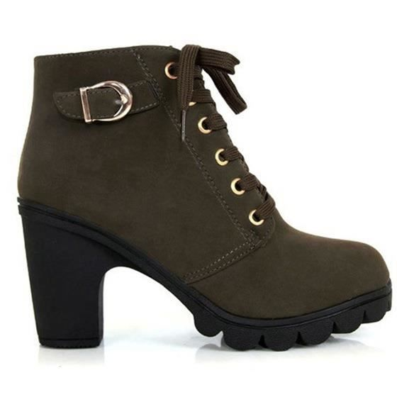 SODIAL(R) Femme plate-forme chaussures a talons hauts simales millesime Motorcycle Boots Martin Bottes Vert Militaire US4 (35)