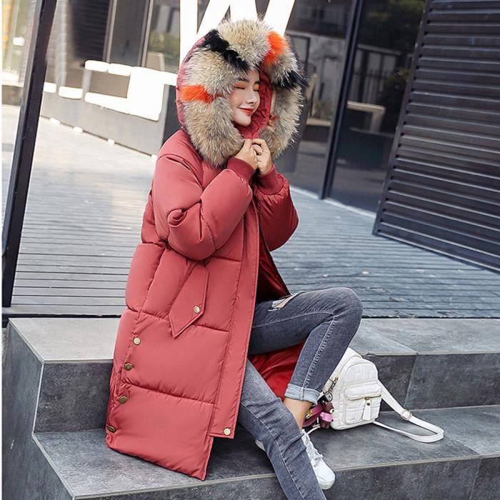 Fausse Chaud Manteau Épais Capuchon En Slim Long Outcoat Rouge Veste Fourrure lxh89779rd Femmes D'hiver À Les nH1IRFqq