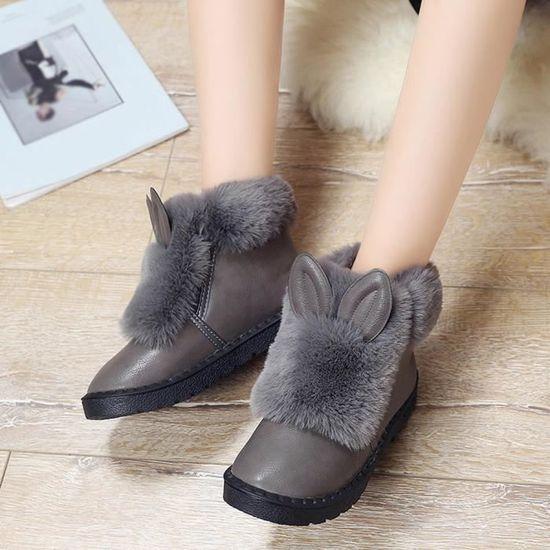 Rabbit Gris Chaud D'hiver Peluche Plat Chaussures On Femmes Bottes IXqIwZFxU