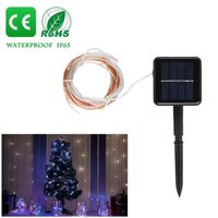 DÉCORATION LUMINEUSE 10m RGB Solar 100-LED Copper Wire String Light lum