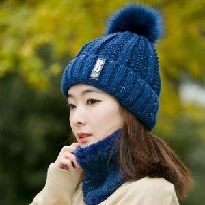 BONNET - CAGOULE Bonnet Tricoté Femme Chapeau Écharpe de Ski Hiver b96d39db037