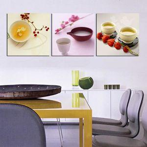 TABLEAU - TOILE Sans cadre 3Pcs Cuisine Room Decor Fleur et Tasse
