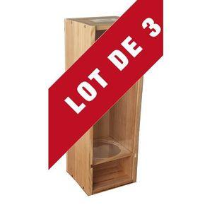 Boîte cadeau 3X Caisse Bois à Glissière Plexiglas - 1x150cl - c