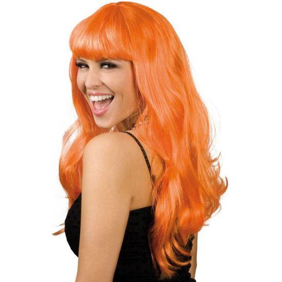 Perruque longue ondulée femme orange