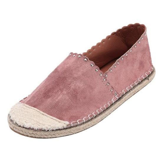 Straw Femmes bout rond Chaussures plates en daim Casual Slip-Rome style Chaussures simples Rose_Y*2322 Rose Rose - Achat / Vente slip-on