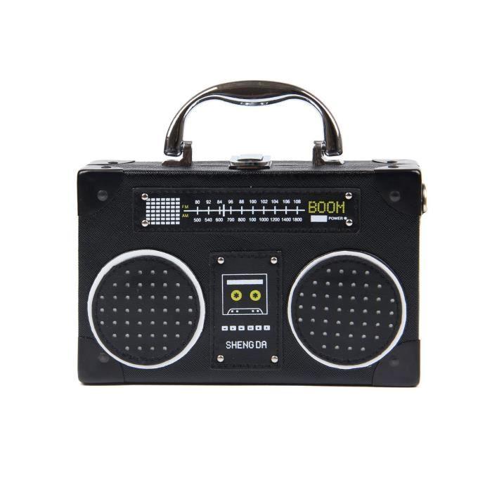 Unique Vintage Radio Croix-corps en forme de sac fermoir clip bandoulière Sac à main TKETI