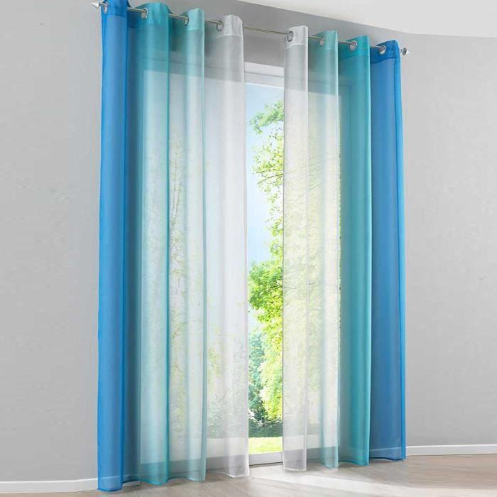 2pcs rideau voilage lx h 140x245cm d grad de couleur bleu rideaux oeillets d coration de. Black Bedroom Furniture Sets. Home Design Ideas