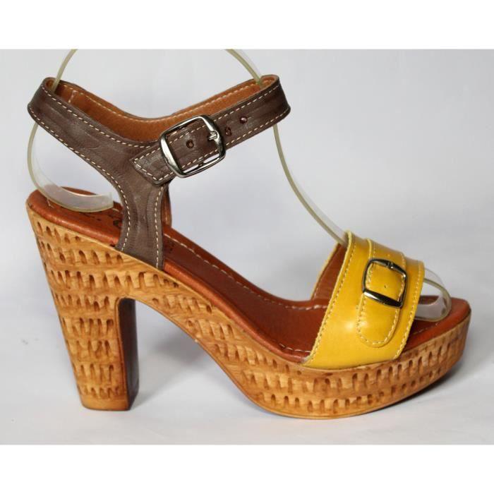 Achat Chaussures Neuves Vente Cuir Jaune T Femme Sandales 37 F1lKJcT