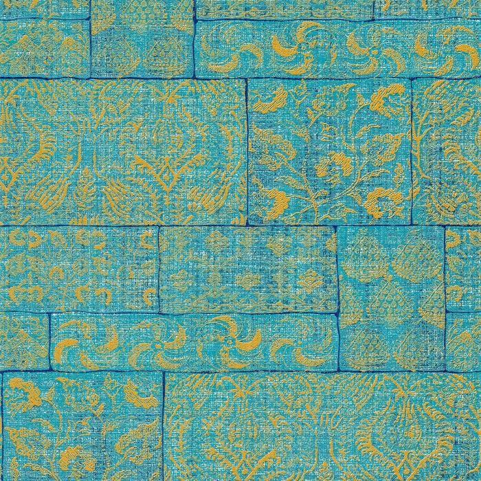 Ethnique Papier Peint Muze 202 103 Floral Bleu Turquoise Jaune Ocre