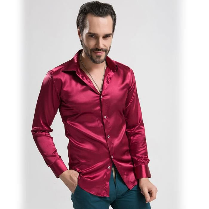 luxe chemise soie douce shirt fashion solid color manches. Black Bedroom Furniture Sets. Home Design Ideas