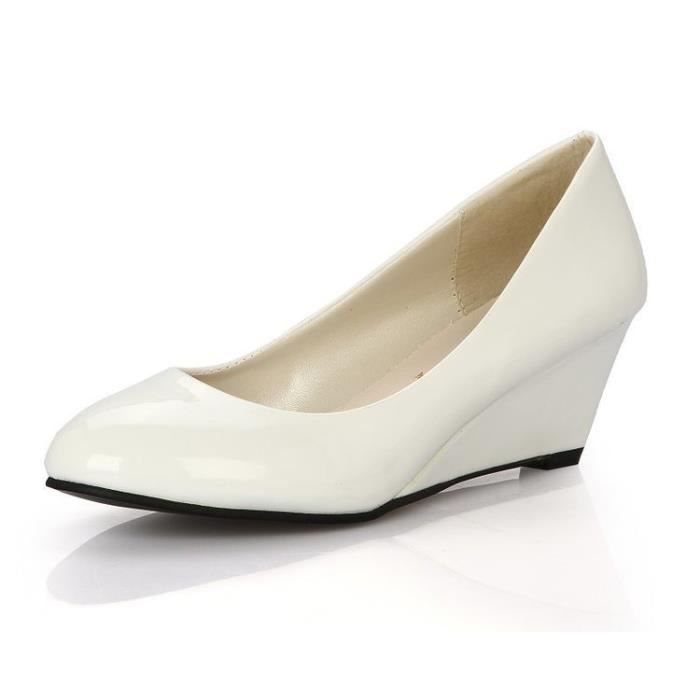 Blanc Grand Pu beige Compens Escarpin rose blanc Femme Hee noir Cuir De Rouge Tnqfq0FS