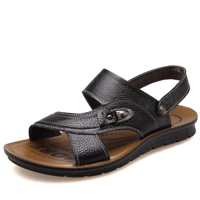 Hommes sandales pantoufles en cuir PU Casual ét...