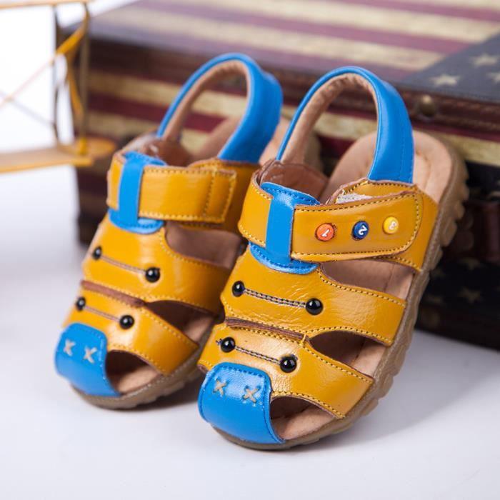enfant garcon chaussures sandale cuirJaune