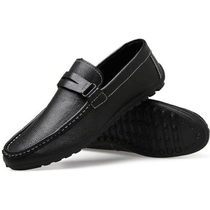 Casual Driving Chaussures Homme Sandale Mocassins Meilleur prix Noir U97iZsgK